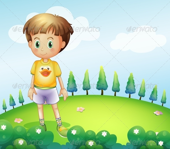 GraphicRiver Kid Standing at the Hilltop 8071776