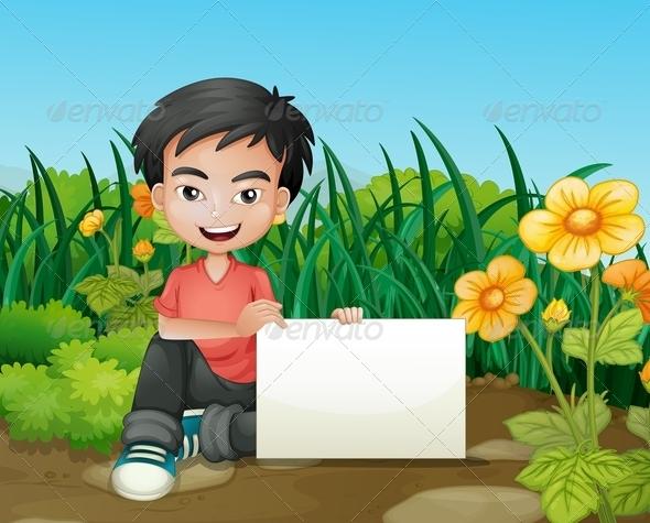 GraphicRiver Boy Holding Empty Sign in Garden 8071783