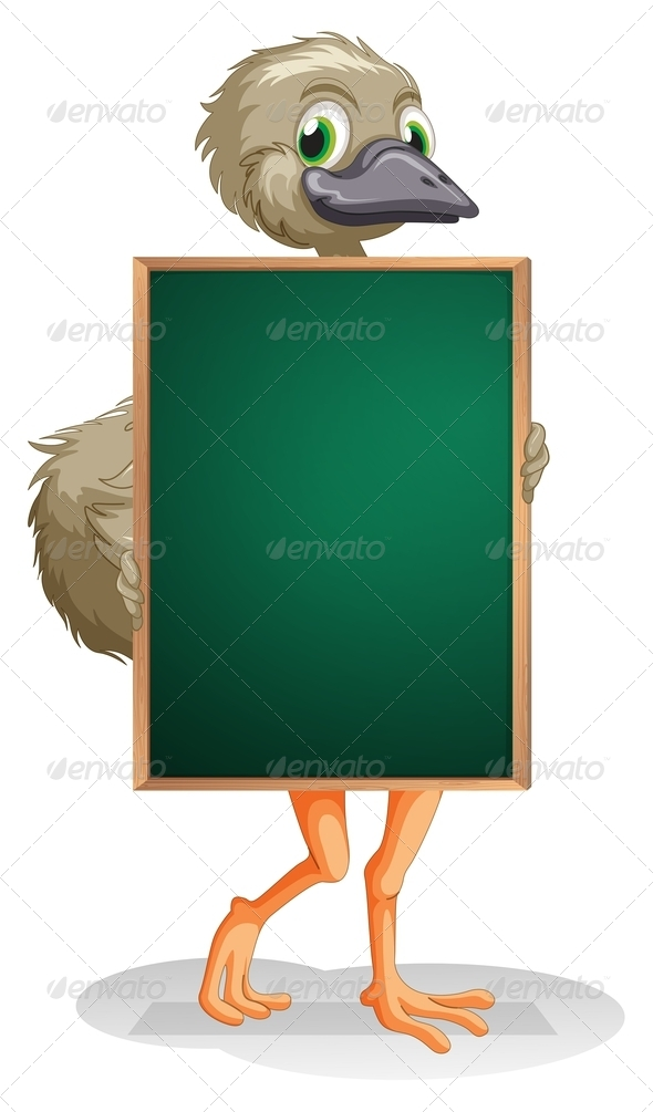 GraphicRiver Ostrich Holding Empty Blackboard 8071800