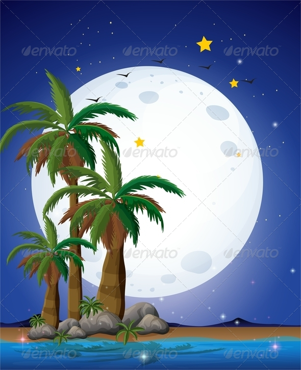GraphicRiver Full Moon Palm Trees and Sea 8071802