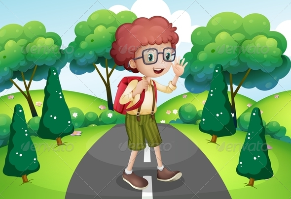 GraphicRiver Boy Traveling on the Path 8071875
