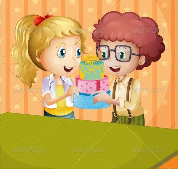 GraphicRiver Girl and Boy with Gifts 8071879