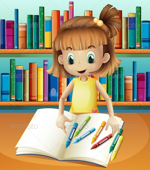 GraphicRiver Girl with Empty Book and Crayons 8071880