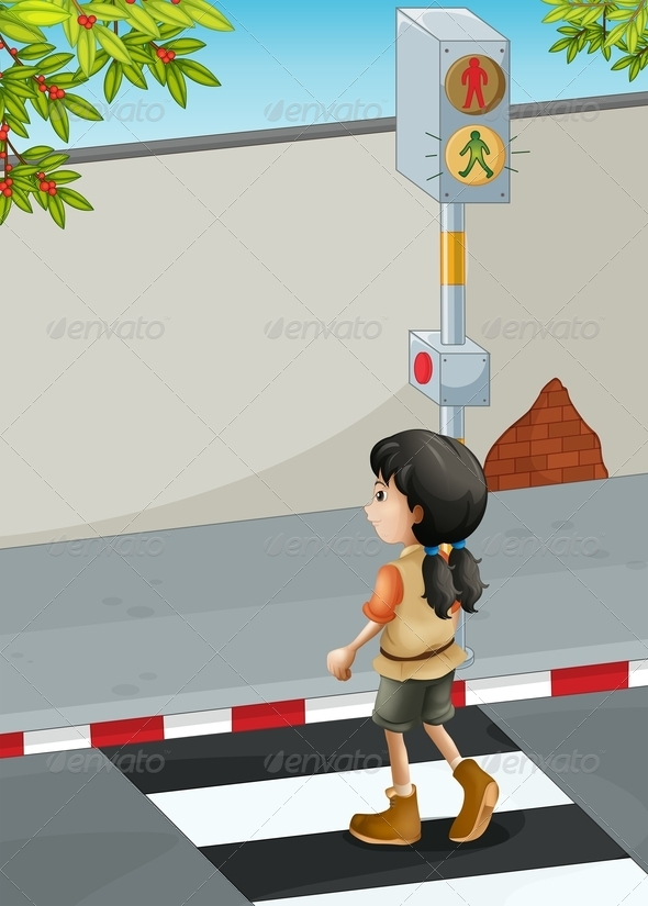 GraphicRiver Girl Crossing Road at Crosswalk 8071881