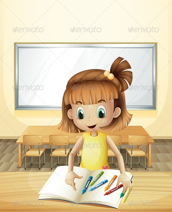 GraphicRiver Girl in Class with Book and Crayons 8071905
