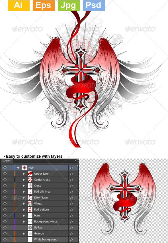 GraphicRiver Gothic Cross Angel 8071949