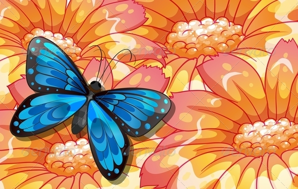 GraphicRiver Butterfly on Flowers 8072085