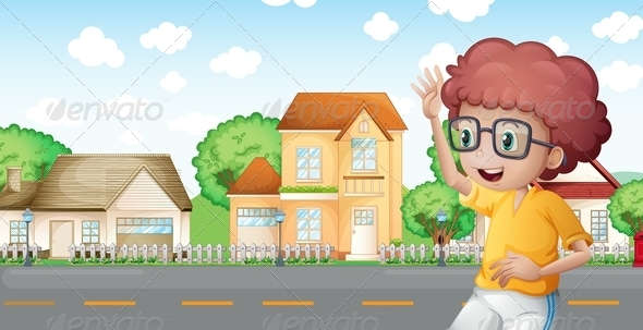 GraphicRiver Boy Jogging Through the Neighborhood 8072102