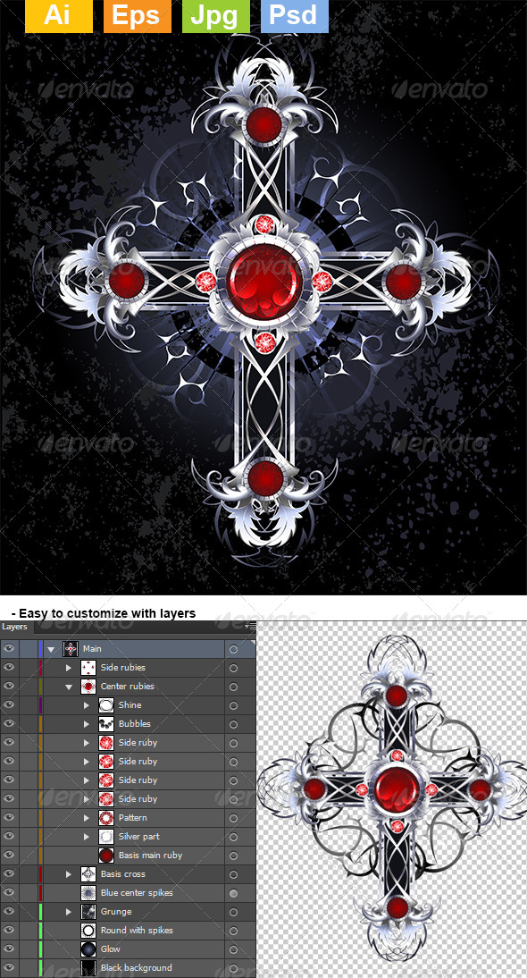 GraphicRiver Silver Cross with Rubies 8072105