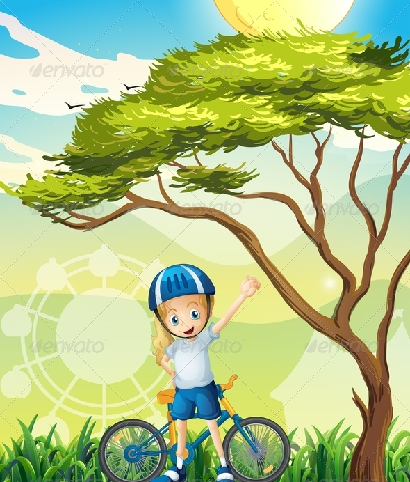 GraphicRiver Happy Girl and Her Bike 8072113