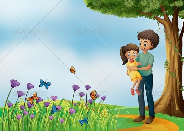GraphicRiver Girl and Dad on the Path 8072223