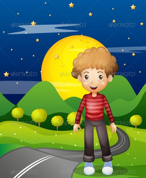 GraphicRiver Boy on the Path at Night 8072313