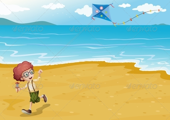 GraphicRiver Boy on the Beach with Kite 8072359