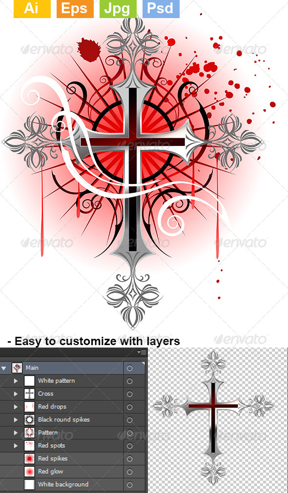 GraphicRiver Silver Cross on a White Background 8072428