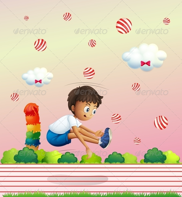 GraphicRiver Boy Leaping in Candy Land 8072552