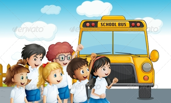 GraphicRiver Students Walking to School Bus 8072585
