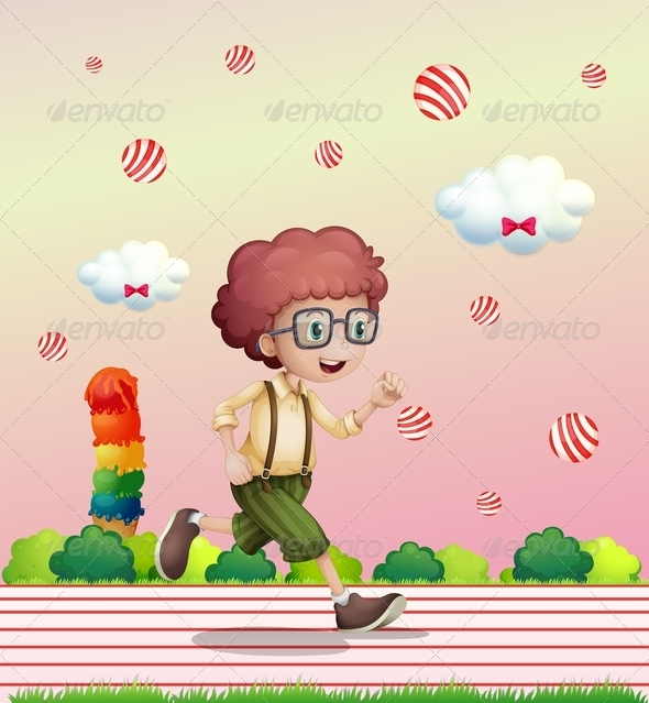GraphicRiver Boy Running in Candy Land 8072705
