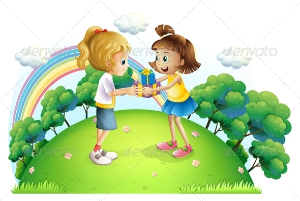 GraphicRiver Girls Exchanging Gifts on Hilltop 8072709