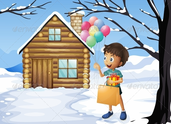 GraphicRiver Boy with Gifts and Balloons 8072712