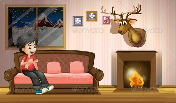 GraphicRiver Boy on Sofa in the Lounge Room 8072730