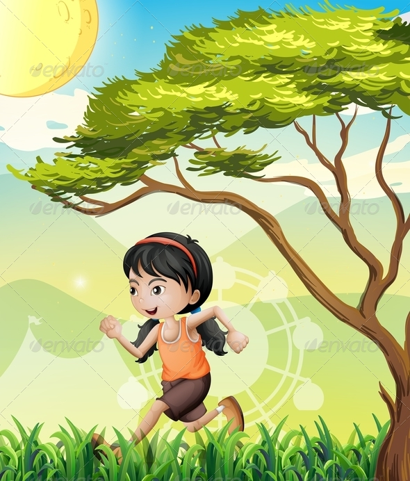 GraphicRiver Girl Running in the Field 8072788