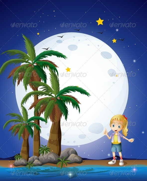 GraphicRiver Girl on the Beach Under Full Moon 8072957