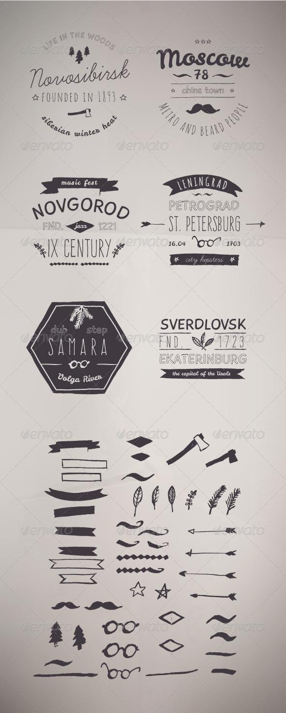 GraphicRiver 6 Hand Drawn Style Logos Trendy Retro Vintage 8072958