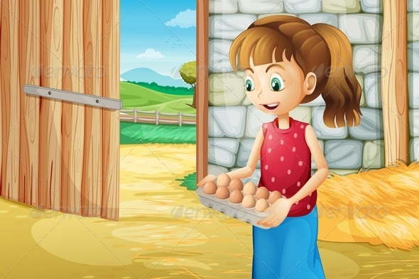 GraphicRiver Girl with Egg Tray in the Barn 8073383