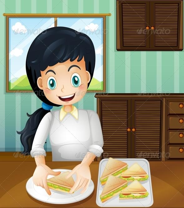 GraphicRiver A Lady Preparing Sandwiches 8073475