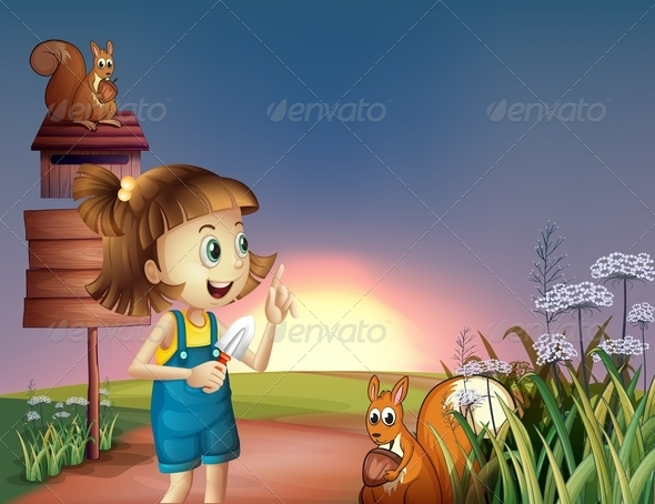 GraphicRiver A Girl with a Shovel Standing near the Wooden Sign 8073485