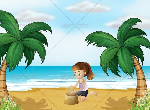 GraphicRiver A Young Girl Forming a Sand Castle at the Beach 8073507