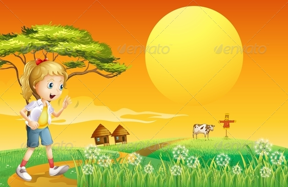 GraphicRiver A Girl Going to the Farm 8073509