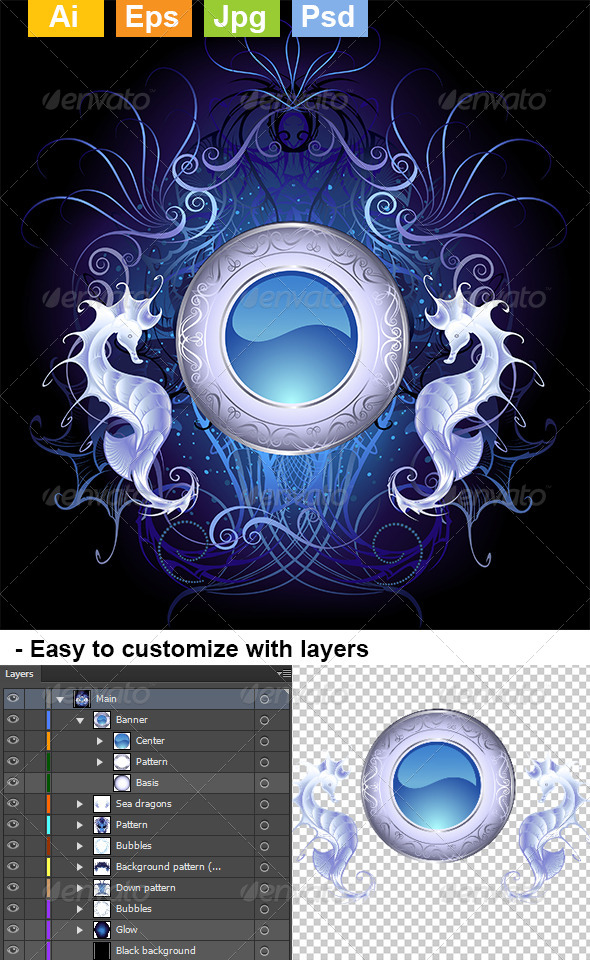 GraphicRiver Round Banner of Sea Dragons 8073512