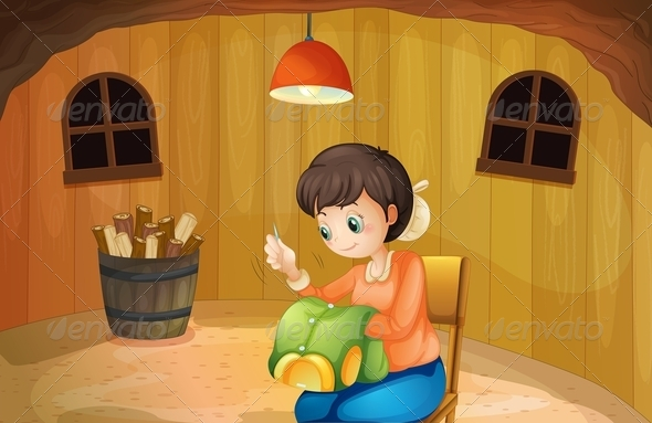 GraphicRiver A Woman Sewing Inside a Wooden House 8073513