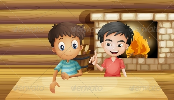 GraphicRiver Friends by a Fireplace 8073541