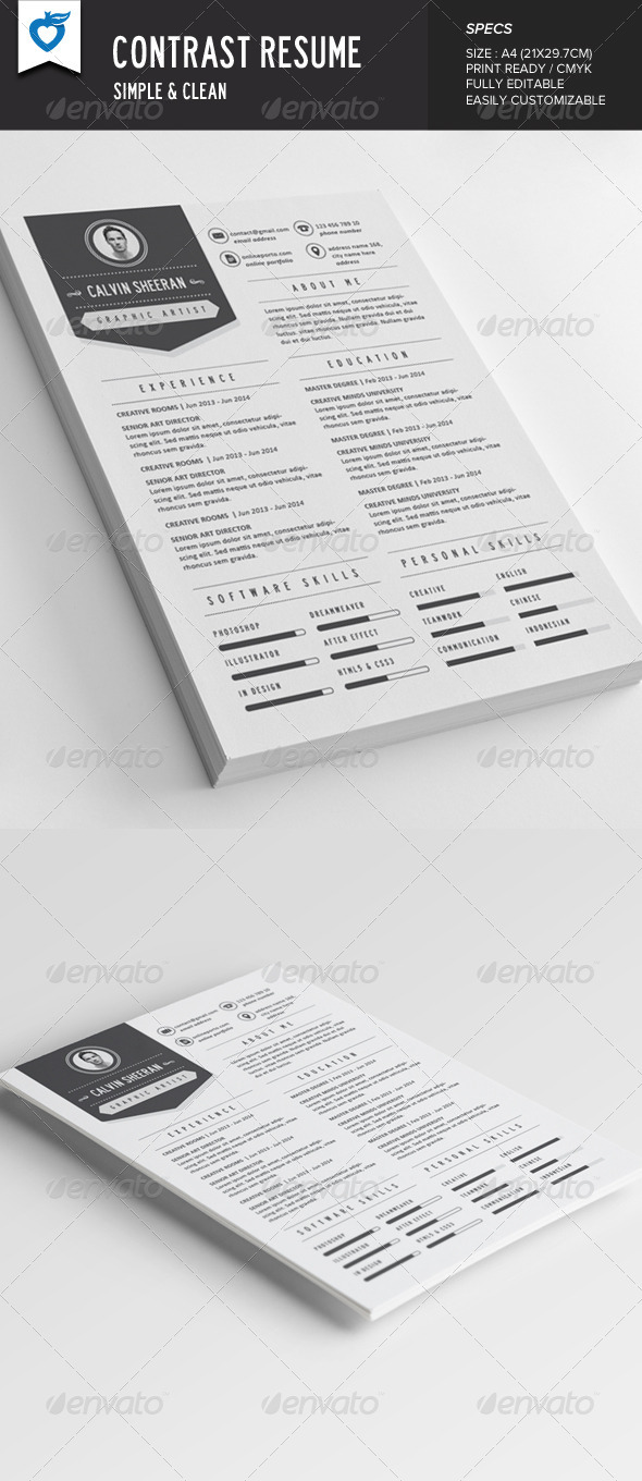 GraphicRiver Contrast Resume 8073542