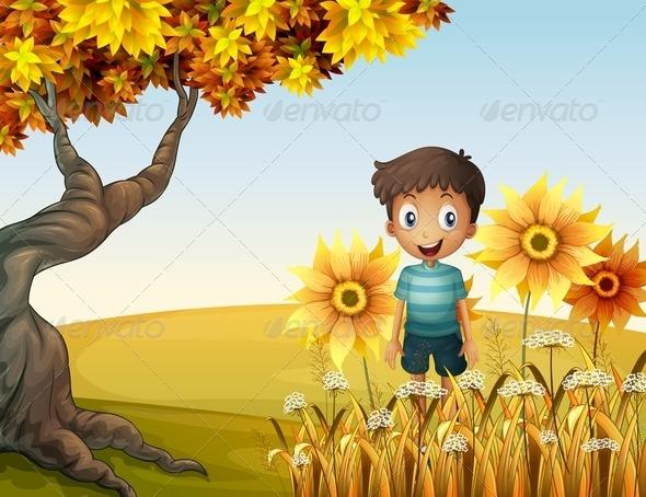 GraphicRiver Boy near Sunflowers 8073562