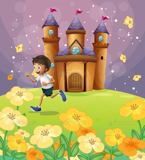GraphicRiver Boy Playing in Front of a Castle 8073576