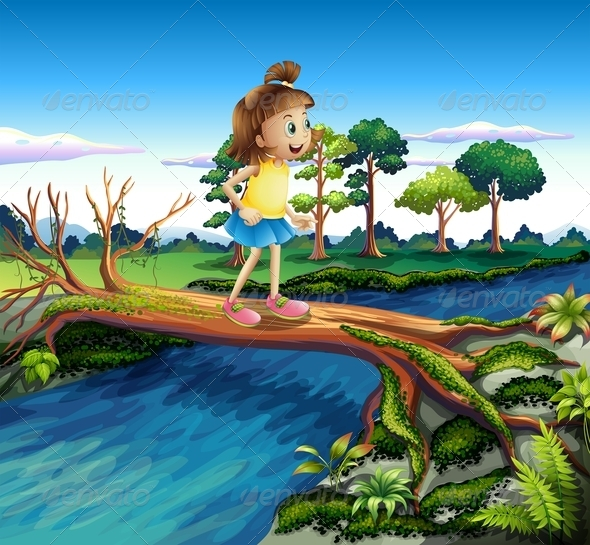 GraphicRiver Small Girl Crossing the River 8073577