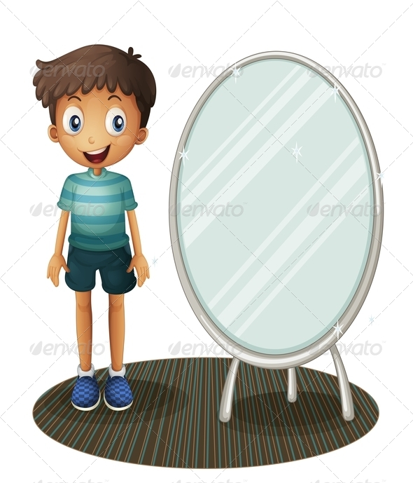 GraphicRiver Boy Standing Beside the Mirror 8073578