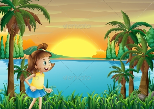 GraphicRiver Girl playing by River 8073579