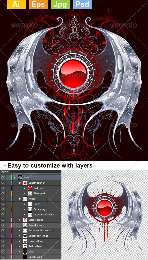GraphicRiver Round Banner with Silver Wings 8073634