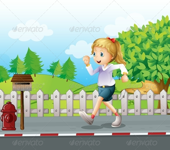 GraphicRiver Girl Jogging in a Street 8073635