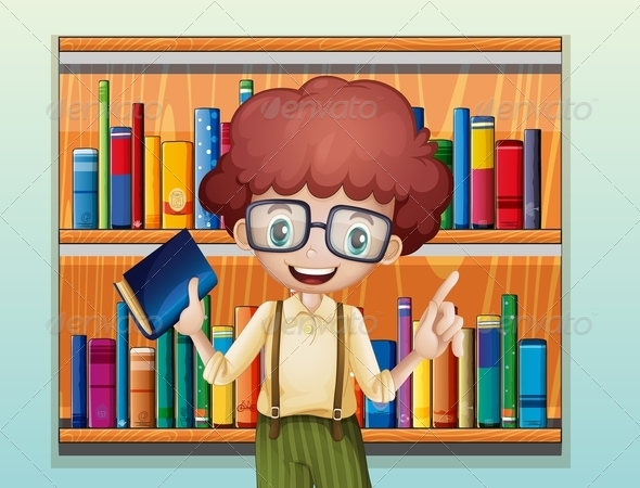 GraphicRiver Happy Boy with a Book Standing in Front of Books 8073638