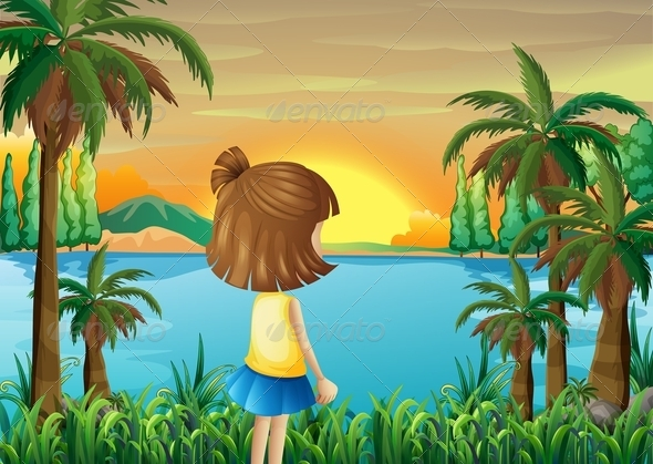 GraphicRiver Girl watching the River 8073640
