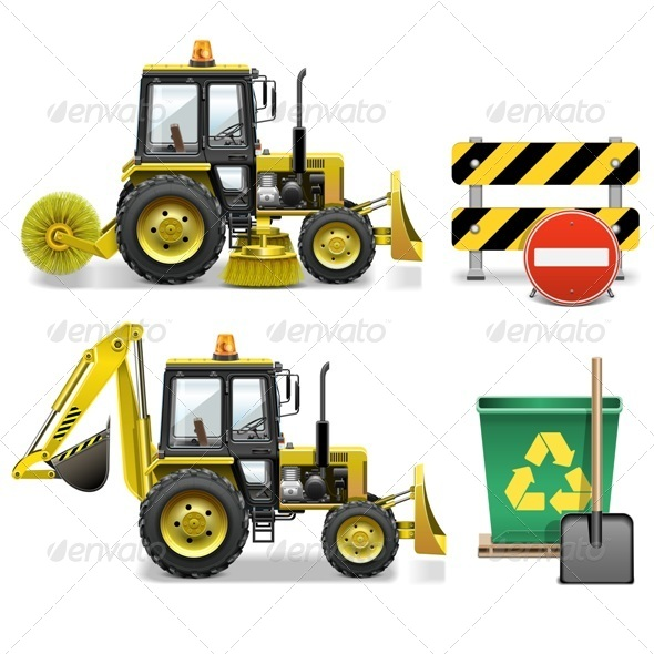GraphicRiver Street Cleaning Icons 8073700