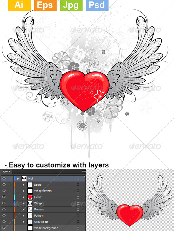 GraphicRiver Red Heart with Wings 8073766