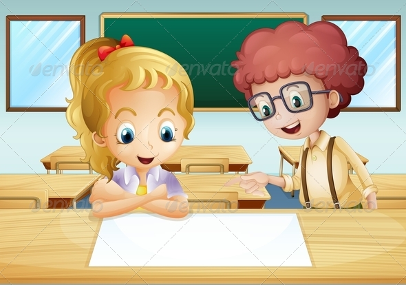 GraphicRiver Girl and a Boy in a Classroom 8073768