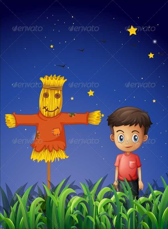 GraphicRiver Boy standing beside Scarecrow 8073774