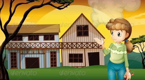 GraphicRiver Woman standing in front of a House 8073784